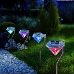 """Солнечные светильники """"Бриллианты"""" со светодиодами, 4 штуки"""