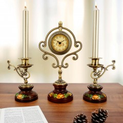"""Часы и подсвечники """"Классика"""" набор из 3 предметов"""