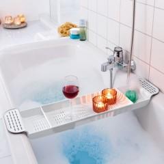 """Полка для ванны """"Мостик белый"""" раздвигающаяся, пластик, 57-72х18 см"""